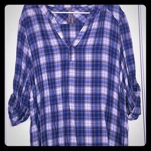 Penningtons Blue White & Grey 3/4 Plaid Shirt